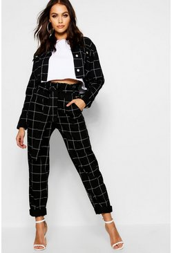 Womens Black Window Pane Check Paperbag Denim Jean
