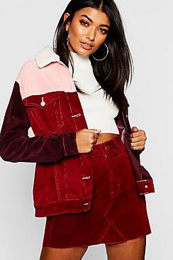 Colourblock Borg Collar Cord Jacket