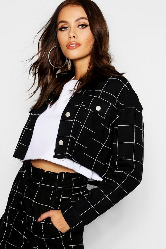 Womens Black Window Pane Check Cropped Denim Jacket
