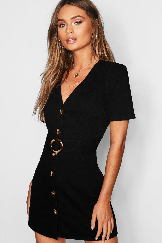 Mock Horn Button Belted Denim Dress
