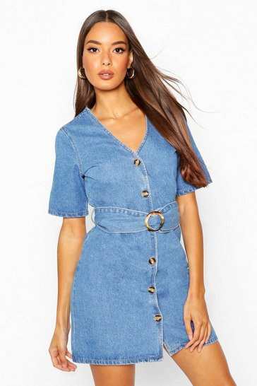 Womens Blue Mock Horn Button Belted Denim Dress