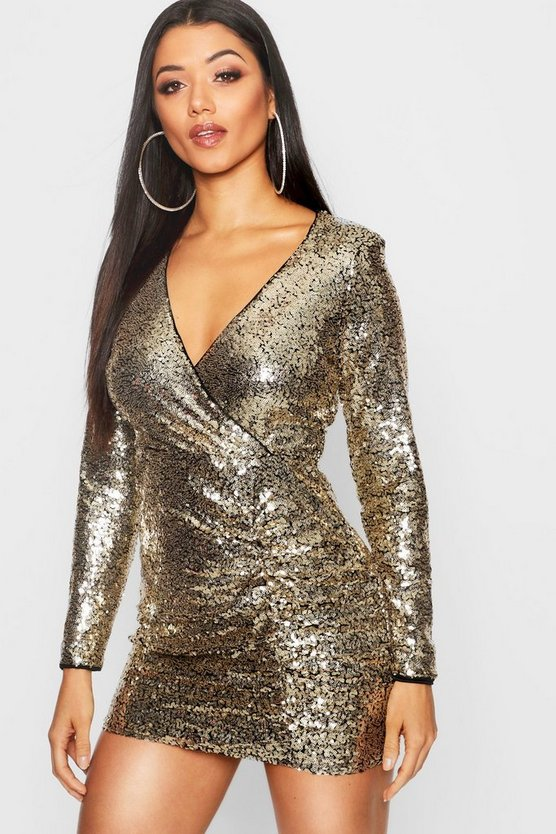 Sequin Wrap Detail Bodycon Dress
