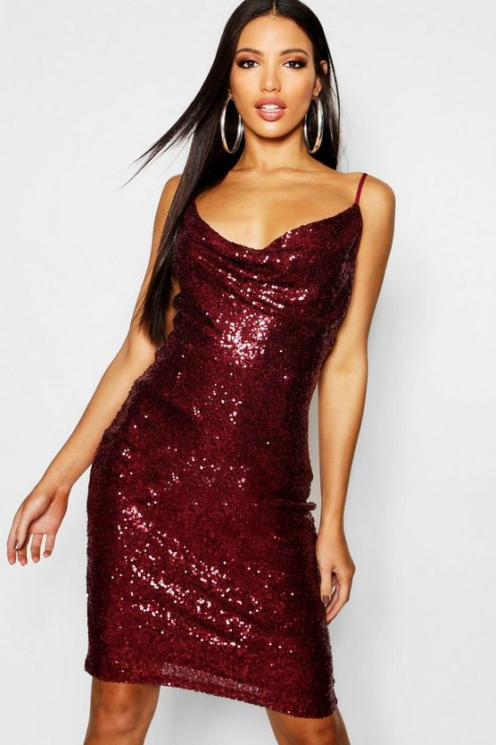 Womens Berry Sequin Cowl Neck Midi Dress