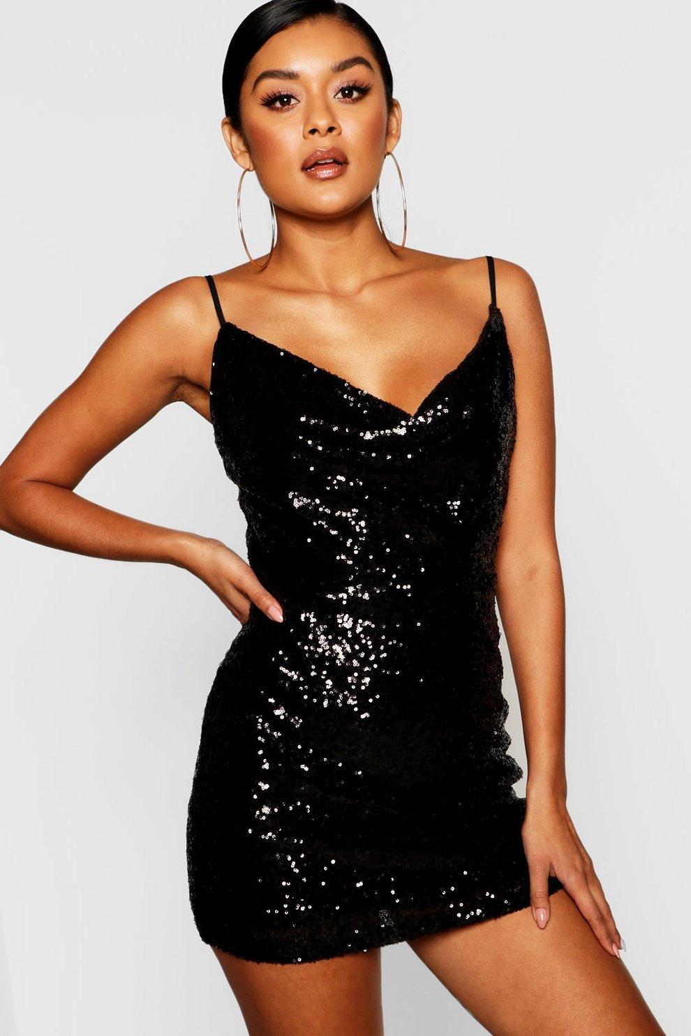 dedc855538 Sequin Cowl Neck Bodycon Dress