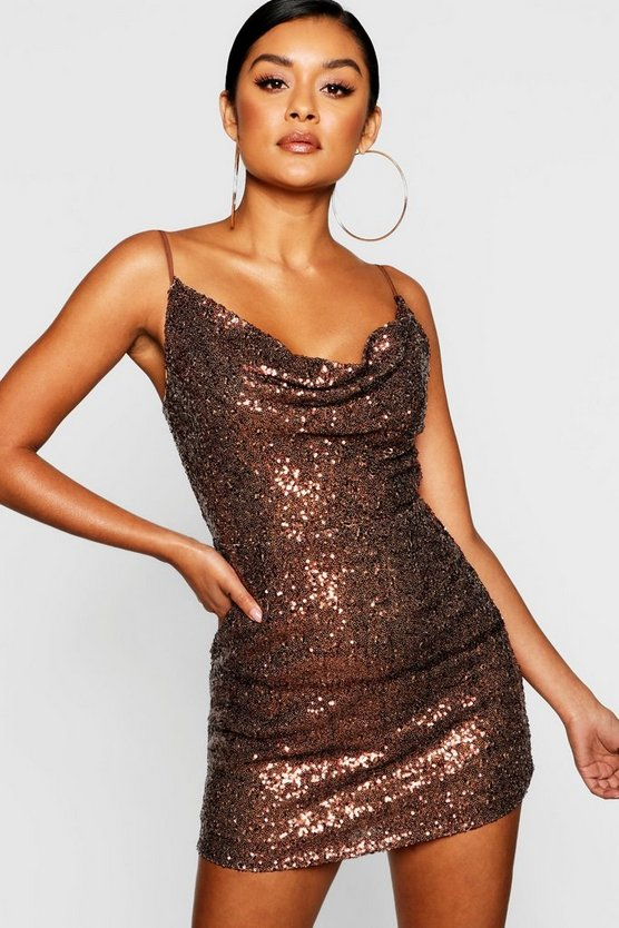 Womens Chocolate Sequin Cowl Neck Bodycon Dress