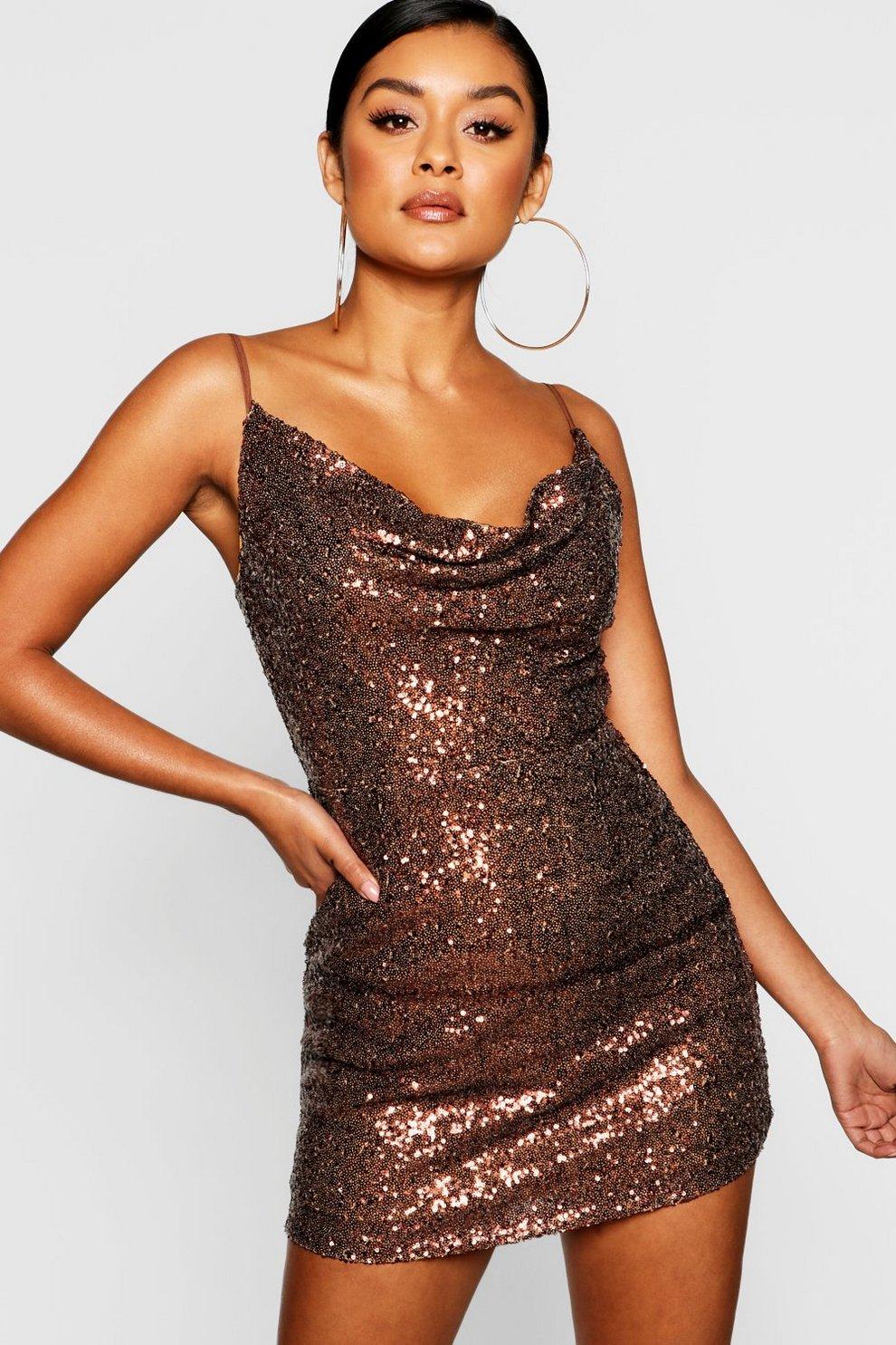 932ab5c1d5e9 Sequin Cowl Neck Bodycon Dress | Boohoo