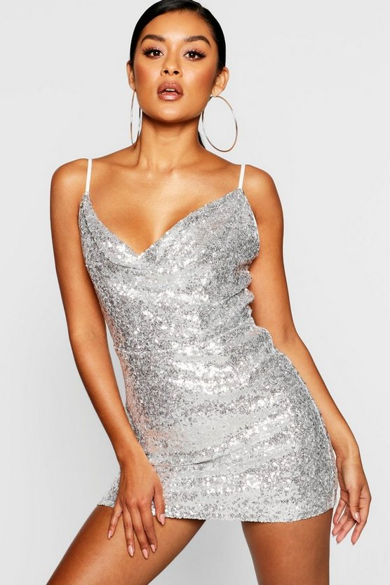 Sequin Cowl Neck Bodycon Dress