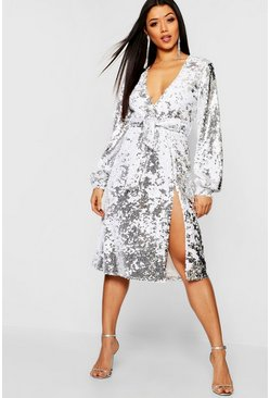 Womens Silver Sequin Plunge Belted Midi Dress