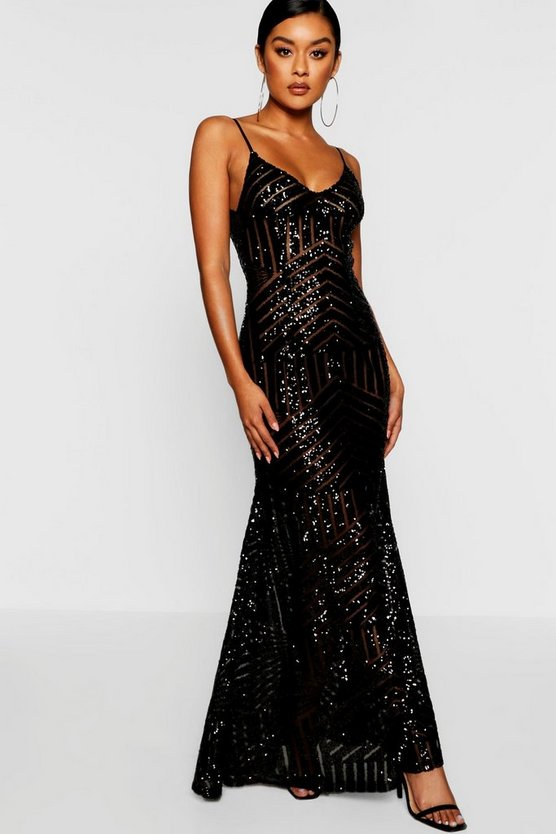 Womens Black Sequin & Mesh Strappy Maxi Dress