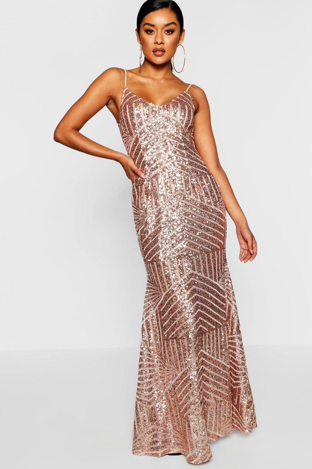 Vintage Evening Dresses and Formal Evening Gowns Womens Sequin  Mesh Strappy Maxi Dress - pink - 12 $49.00 AT vintagedancer.com