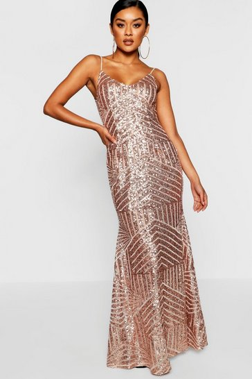 Womens Rose Sequin & Mesh Strappy Maxi Dress
