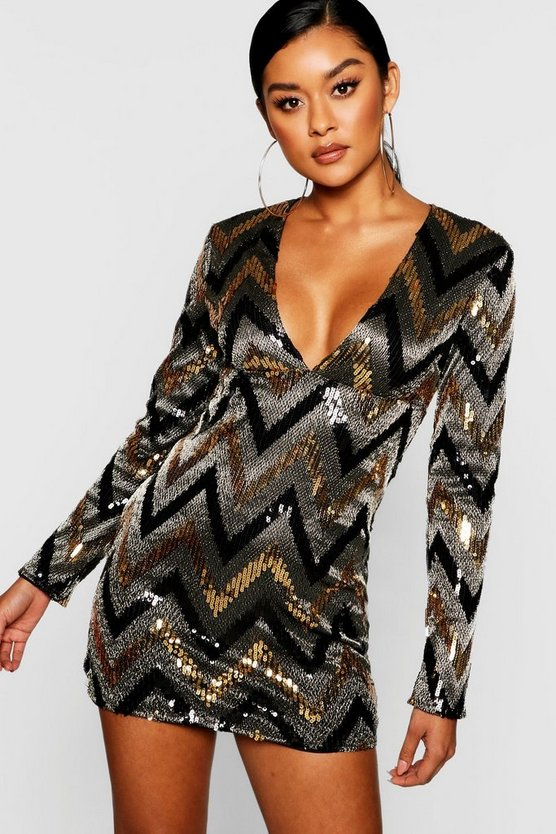 Sequin Long Sleeve Plunge Bodycon Dress
