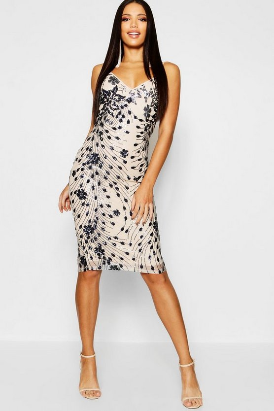 Sequin & Mesh Plunge Neck Midi Dress