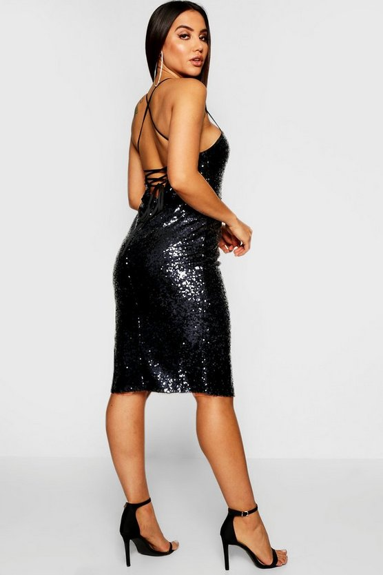 Womens Navy Sequin Strappy Back Midi Dress