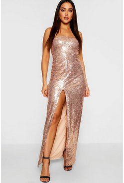 Womens Rose Sequin Bandeau Maxi Dress