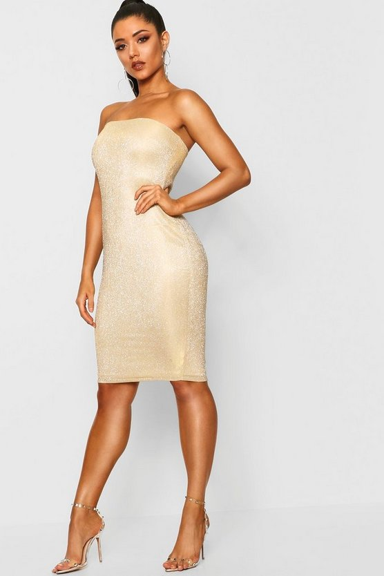 Gold Metallic Bandeau Midi Dress