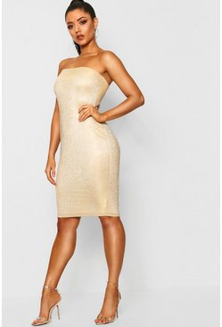 Womens Gold Metallic Bandeau Midi Dress