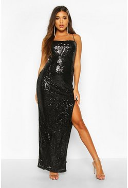 Womens Black Sequin Square Neck Side Split Maxi Dress