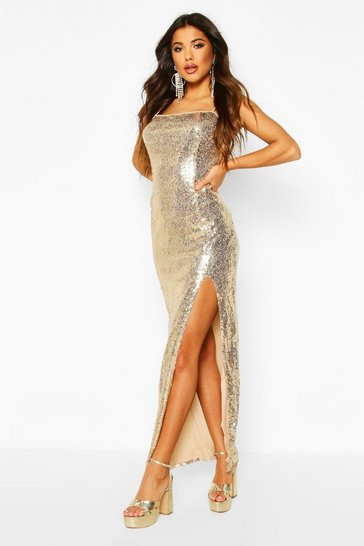 Womens Gold Sequin Square Neck Side Split Maxi Dress