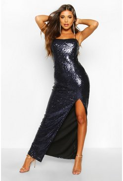 Navy Sequin Square Neck Side Split Maxi Dress