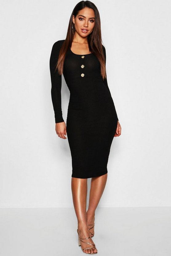 Ribbed Long Sleeve Bodycon Midi Dress With Buttons