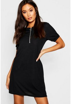Womens Black Zip Front Ribbed Tee Dress