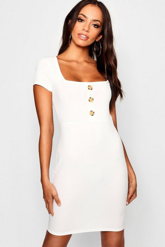 Womens Ivory Square Neck Button Ribbed Bodycon Dress