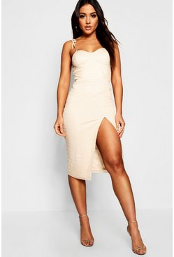 Womens Nude Bustier Piping Trim Detail Midi Dress