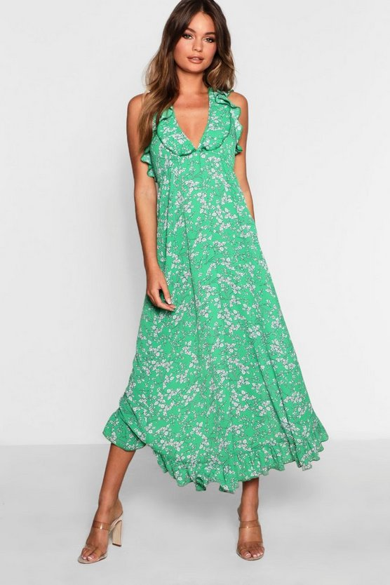 Frill Edge Floral Wrap Maxi Dress