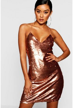 Womens Chocolate Sequin Cami Slip Dress