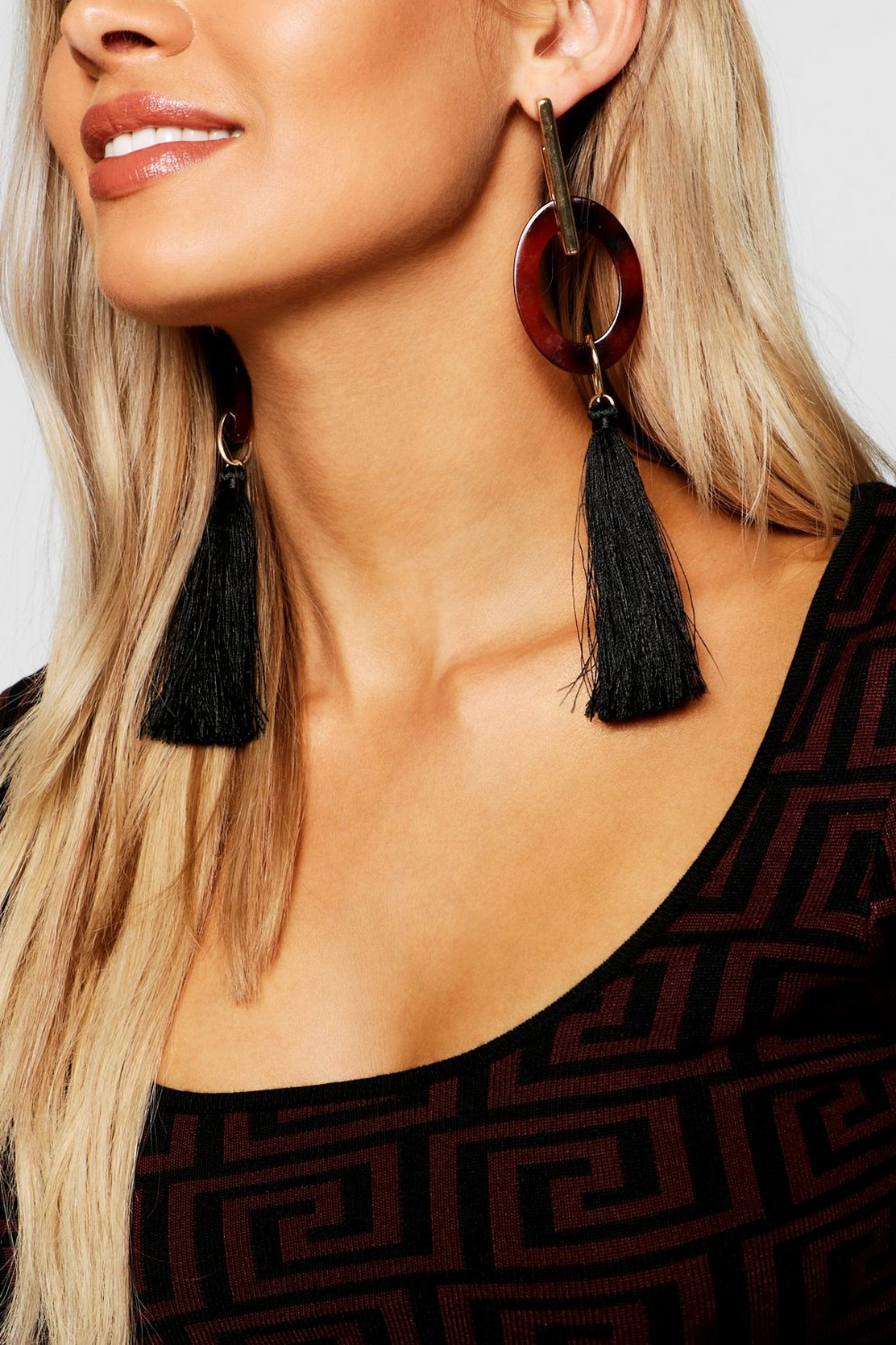 Tortoiseshell & Gold Tassel Earrings by Boohoo