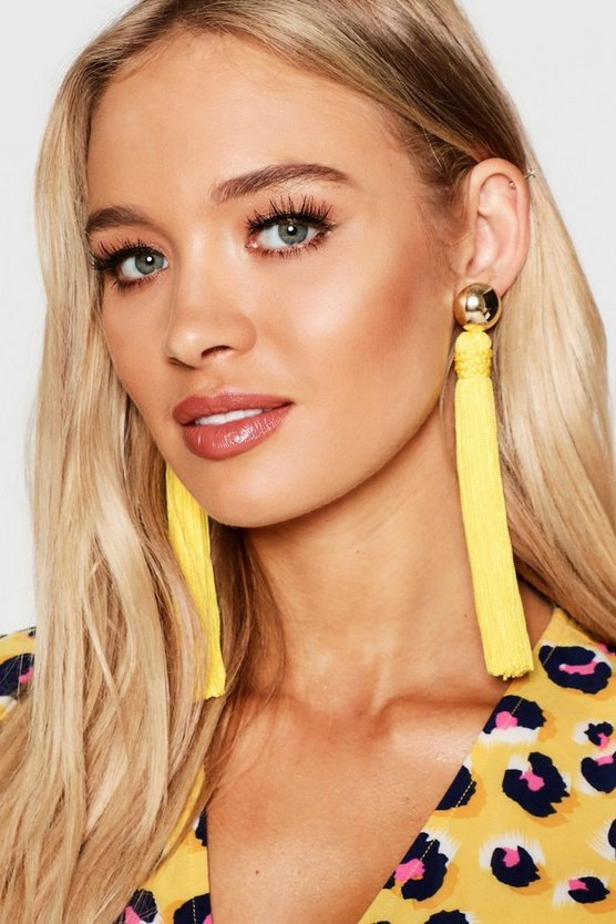 Womens Mustard Gold Stud Long Length Tassel Earrings