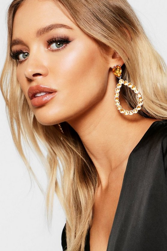 Yellow Oversized Gem Tear Drop Earrings