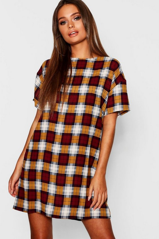 Check Woven Shift Dress