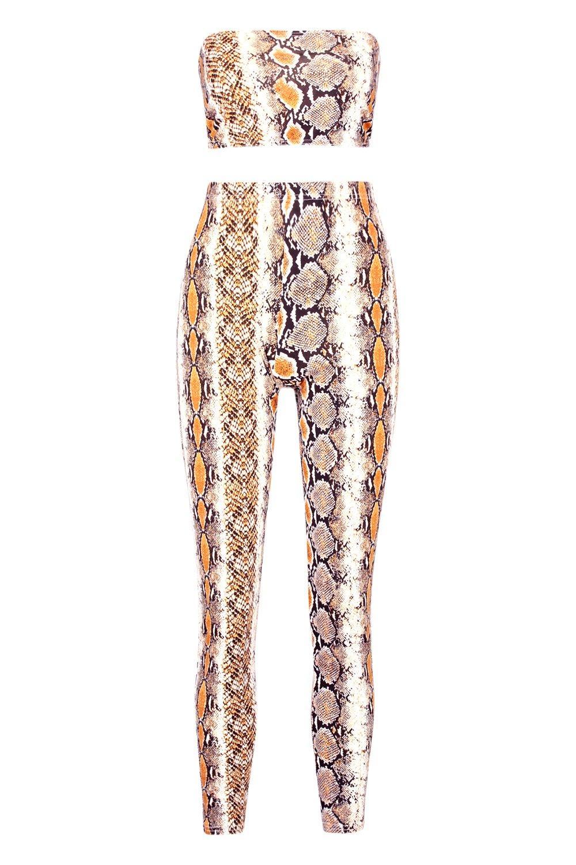 de de con serpiente bandeau y estampado legging Conjunto marrón wR71HqxFqc