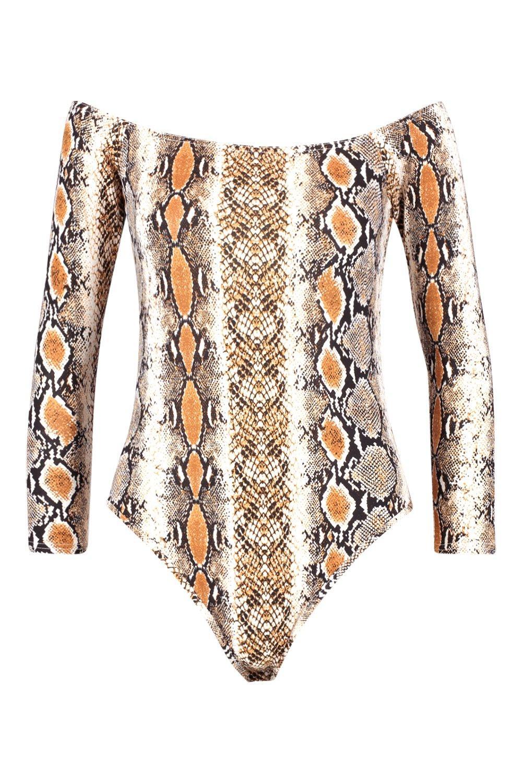 de marrón con serpiente Bardot estilo estampado Body xzqIU4w