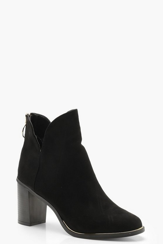 Cut Work Block Heel Boots