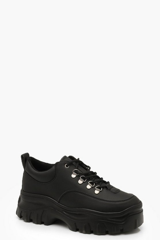 Womens Black Chunky Hiker Trainers