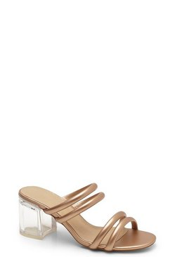 Womens Rose gold Tubular Clear Heel Mules