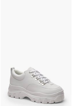 Womens White Chunky Hiker Trainers