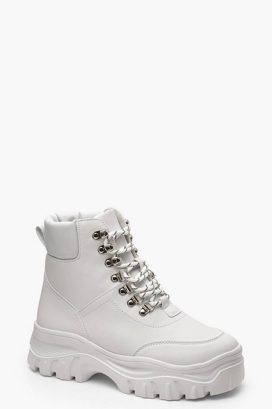 Womens White Chunky Cleated Hiker Boots