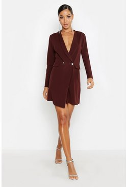 Womens Chocolate Longline Wrap Blazer