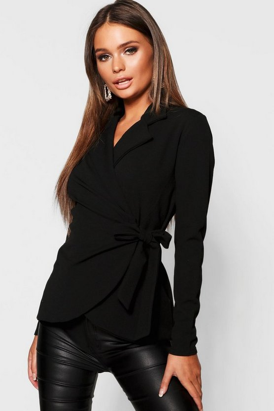 Womens Black Belted Wrap Blazer
