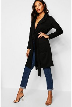 Womens Belted Duster Coat With Pockets