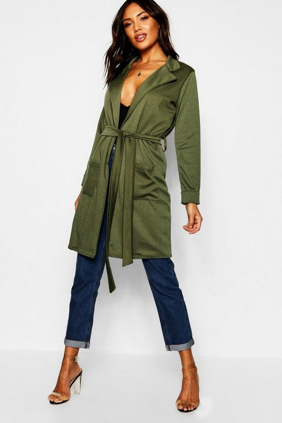 Belted Duster Coat With Pockets