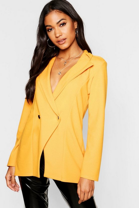 Womens Mustard Double Breasted Military Duster