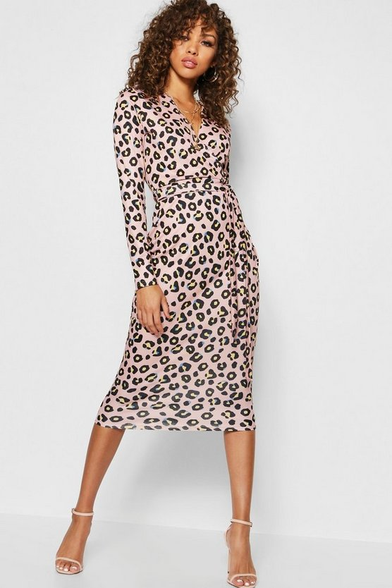 Womens Pink Leopard Print Wrap Collared Dress Midi