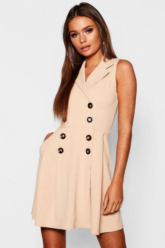Blazer Double Breasted Pocket Detail Horn Button Dress