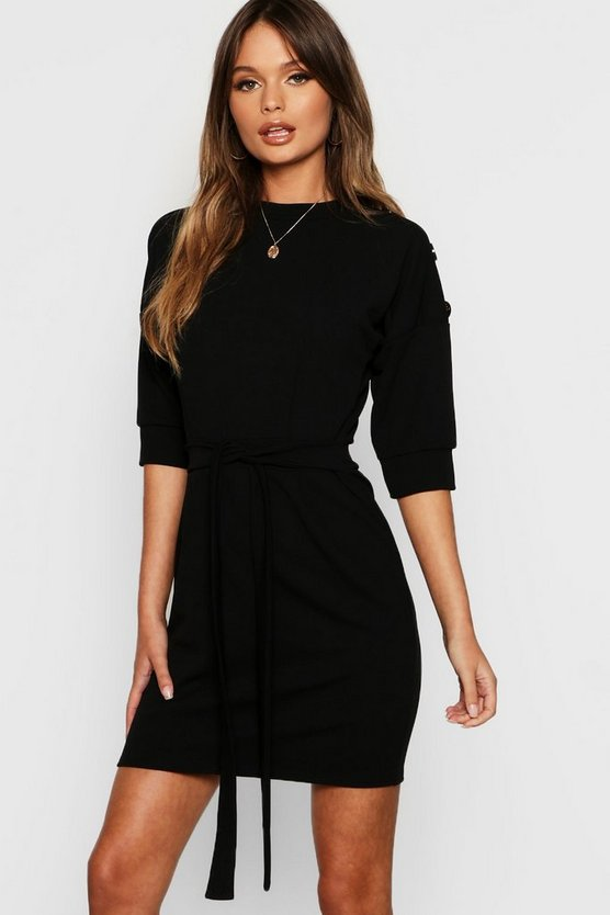 Womens Black High Neck Button Detail Tie Belt Dress