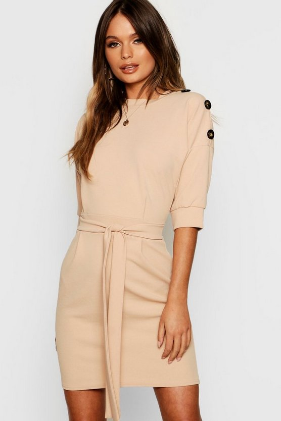 High Neck Button Detail Tie Belt Dress